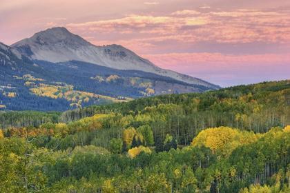 Autumn Aspen and Mountain Range at Sunrise  Colorado, USA  HDR Image